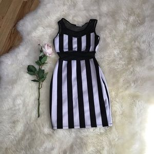 Black/White Stripe Mesh Dress